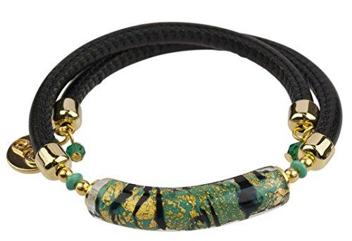 Glass Bracelet Murano Gold (Venetian Murano Glass Wrap Bracelet, 10 Inches, Green, Black and Gold)