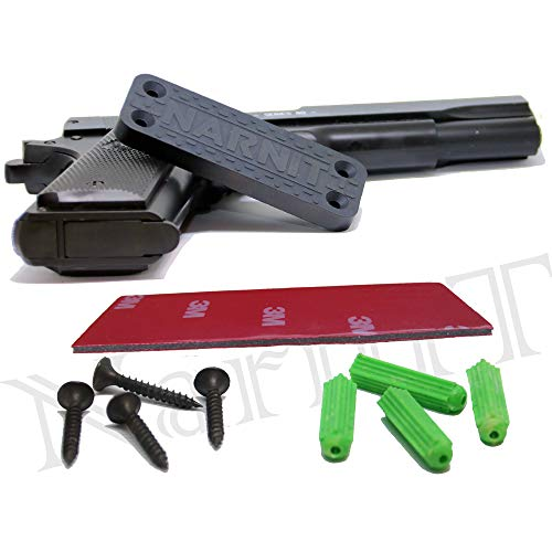 NarnIT Strong Magnetic Tool Holder - Ideal Gift for Your Gun! - Rubber Coated Neodymium Magnets for Storage, Organizer and Quick Access - Magnetic Car, Truck, Boat, Wall, Safe, Handgun, Rifle Mount