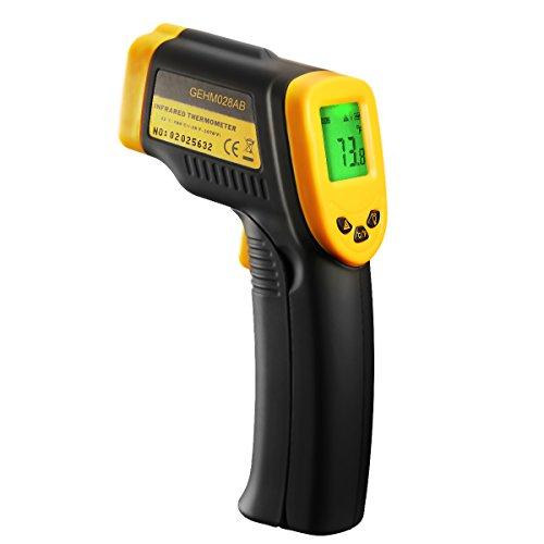 Berührungslose Infrarot-Thermometer Digital Laser mit 2 Einheiten (Celsius und Fahrenheit), Maßnahme Messtemperatur ohne kontakt, große LCD-Bildschirm, breiter Temperaturbereich und höhere Genauigkeit, gelb und schwarz