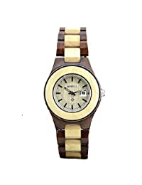 Girls Natural Sandal Wood Analog Quartz Movement Gift Display W100A (gold and red)