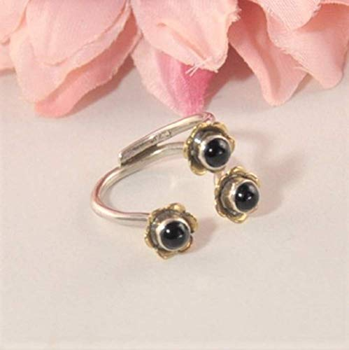 SIVALYA SATYA Adjustable Flower Ring in Two Tone Sterling Silver with Black Onyx Gemstones - A stunning statement ring in solid silver - Great Gift for - Onyx Silver Tone