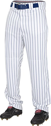 Rawlings  Youth Semi-Relaxed Pants with Pin Stripe Design, Large, White/Navy (Rawlings Boys Baseball Pants)