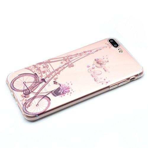 iPhone 8 Plus Coque , Leiai Transparent Mode Ultra-mince Clear La Tour Silicone Doux TPU Housse Gel Etui Case Cover pour Apple iPhone 8 Plus