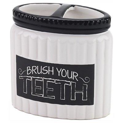 Chalk It Up White/ Black Ceramic Toothbrush Holder White/