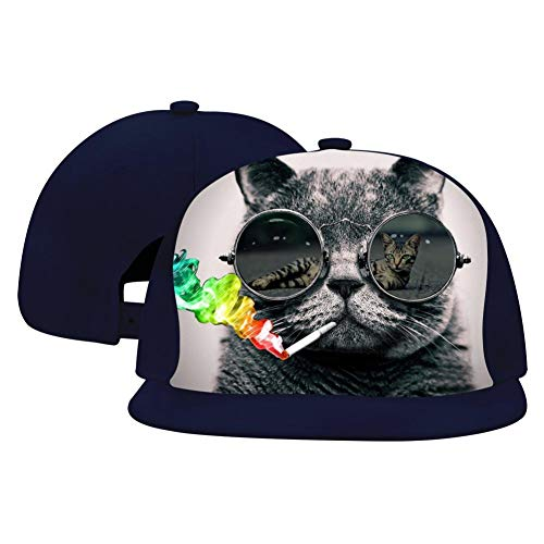 A Cat with Glasses Hip Hop Caps Adjustable Fashion Baseball Cap for Men Women ()