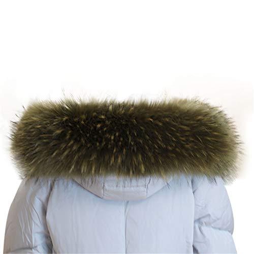 Collar Ejército Piel La De Verde Chaqueta Abrigo Del Mujeres A08 Faux Mapache Capucha Bufanda El Las Invierno Ecyc Para x7Upn0FF