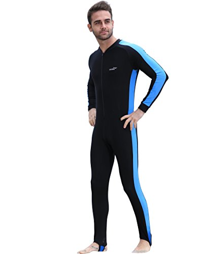 RGA Full Wetsuits Swimming Bodysuit Snorkeling Dive Skins One Piece Diving Suits UPF 50+ Protection - Lycra Long Sleeves Full Body Diving SportsSuit & Hood for Adult,Kids,Men,Women,Youth (Blue, L)