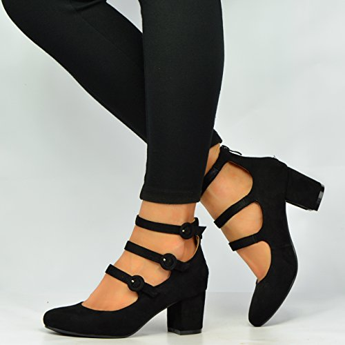 New Womens Ladies Mid Block Heel Mary Jane Ankle Strap Pumps Shoes Size UK 3-8 Black 63spx