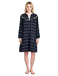 Ashford & Brooks Women's Flannel Plaid Long Sleeve Snap Front Lounge Duster