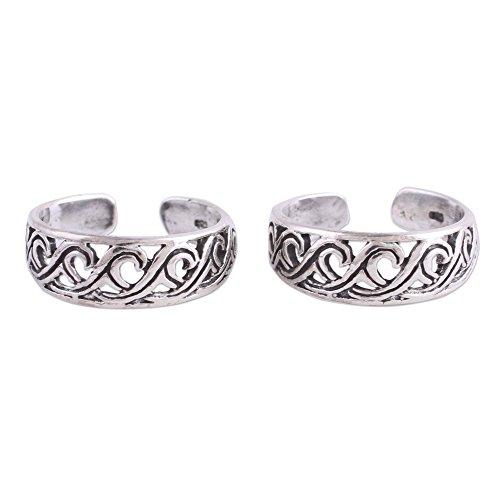 (NOVICA .925 Sterling Silver Spiral Ocean Wave Motif Toe Rings 'Fascinating Swirls' (pair))