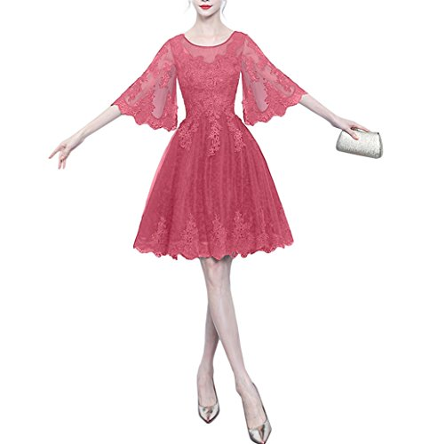 Sleeves Women's Homecoming Lovely Bridal Dress Amore Prom Lace Dress Short Coral AEwfcW01qW