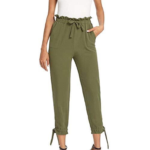 QueenMMWomen's Pants Trouser Slim Casual Cropped Paper Bag Waist Pants with Pockets Green