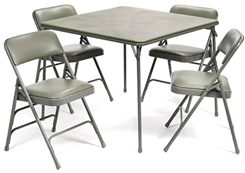 - 5pc. XL Series Folding Card Table and Triple Braced Vinyl Padded Chair Set, Commercial Quality, Grey