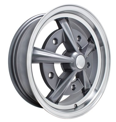 PREMIUM RAIDER WHEEL, Grey With Polished Lip, 5'' Wide, 5 on 205mm