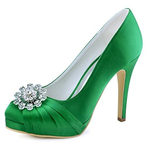ElegantPark EP2015 Women Pumps Closed Toe Platform High Heel Buckle Satin Evening Prom Wedding Dress Shoes Green US ()