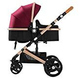 Lightweight Stroller Buggy, Travel Buggy with Reclinable Backseat Easy One Hand Fold Compact Airplane Stroller Pushchair for Family Trips Best Gift (Color : Purple+Gold)