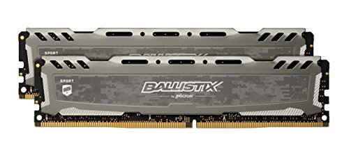 Ballistix Sport LT 16GB Kit (8GBx2) DDR4 2400 MT/s (PC4-19200) CL16 DIMM 288-Pin - BLS2K8G4D240FSB (Gray)