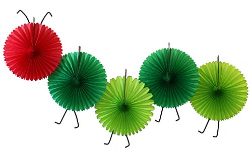 5-Fan Set of Caterpillar Themed 13 Inch Party Fans -