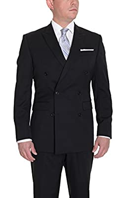 Calvin Klein Slim Fit Solid Black Two Button Wool Suit