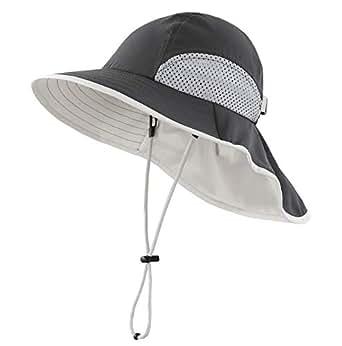 Connectyle Kids Wide Brim Neck Flap Sun Protection Hat Mesh Vent Bucket Sun Hat - Black - Large