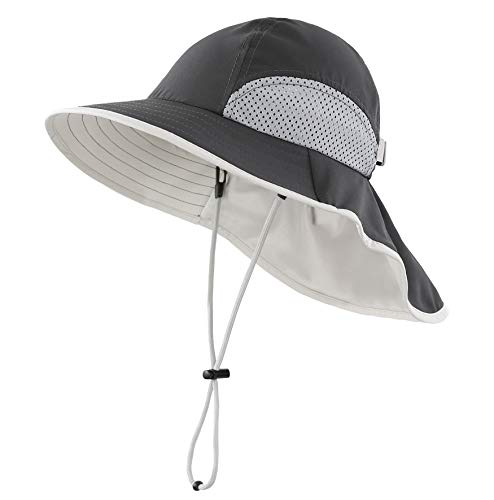 Connectyle Kids Summer Wide Brim UPF 50+ Mesh Sun Hats with Neck Flap UV Sun Protection Bucket Hat Dark Gray