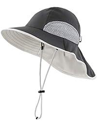 Kids Wide Brim Neck Flap Sun Protection Hat Mesh Vent Bucket Sun Hat
