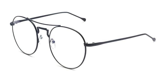 de936b574 Amazon.com: Outray Retro Round Metal Clear Lens Glasses 2170c1 Black ...