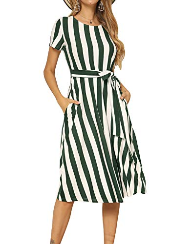 levaca Women Casual Swing Striped Loose Teen Pockets Midi Dress with Belt Green L