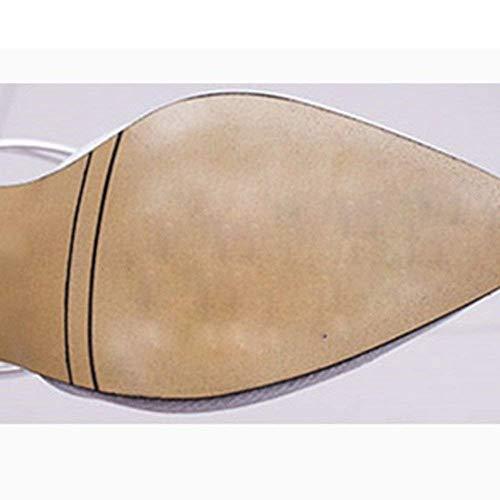 Femeninas Nuevas Dos uk6 Tamaño Bolsos Medio Con De Acentuados Medias Gruesas Sandalias Primavera Y Zapatillas color Eu39 Plata Jincosua Tacón Verano cn39 Oro 2 YxqdBzdw