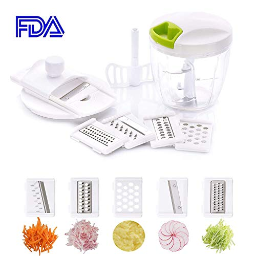 - Manual Food Chopper, 7 in 1 Mandoline Slicer Set, for Vegetable Fruit, Upgrade 5-Blade Leaf Kitchen Hand-Powered Onion Chopper, Grater, Mincer, Blender, 6 Cup