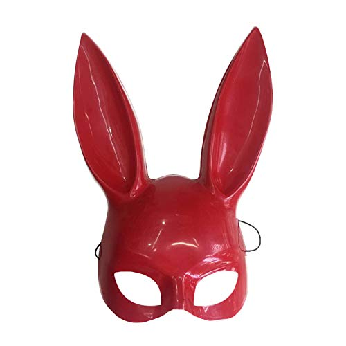 Halloween Bunny Mask, S.Charma Women's Masquerade Rabbit Ears Mask Half Face Masks Halloween Easter Eve Party Costume Accessory (dark pink) -
