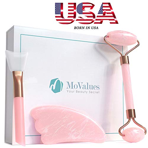 Original Jade Roller for Face and Gua Sha Set - Rose Quartz Face Roller - Real 100% Jade - Face Massager for Wrinkles, Anti Aging - Authentic, Durable, Natural, No ()
