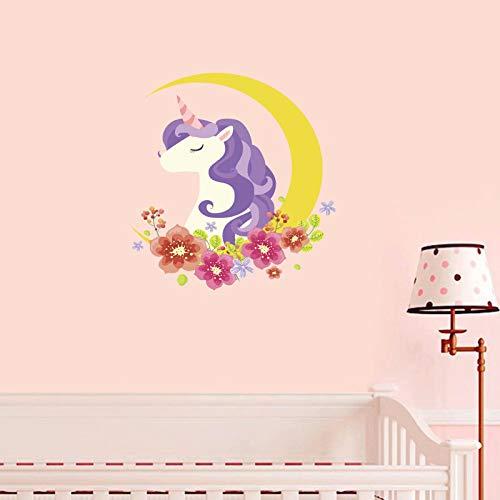 Flowers Decal Purple Unicorn Wall Sticker Girls Warm Moon PVC Reflective Sticker -