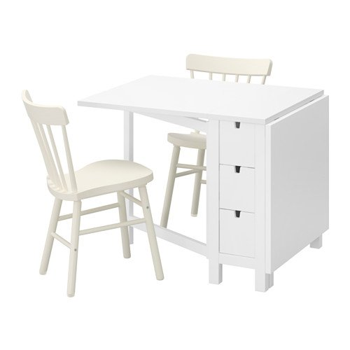 Ikea Table and 2 chairs, white, white 10204.20517.222