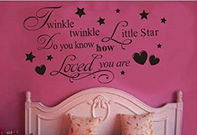 Toprate (TM) Twinkle Little Star Do You Know How Loved Are - Girl's or Boy's Room Kids Baby Nursery - Vinyl Wall Decal, Lettering Art Letters Decor, Quote Design Sticker, Saying Decoration