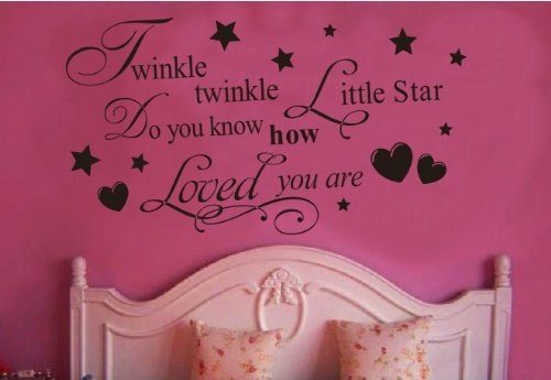 Toprate (TM) Twinkle Little Star Do You Know How Loved Are - Girl's or Boy's Room Kids Baby Nursery - Vinyl Wall Decal, Lettering Art Letters Decor, Quote Design Sticker, (Baby Boy Room)