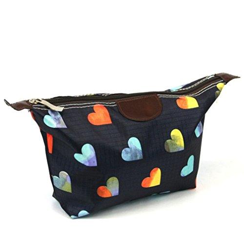 Schönes Geschenk Set von Reisetasche mit passende WC-Tasche plus einem Bonus Paar Pinzette alle mit attraktiven Herzen Design