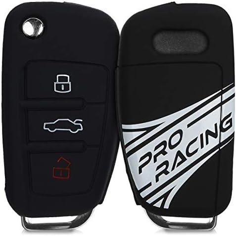 [해외]kwmobile 자동차 키 커버 아우디 - 실리콘 보호 키 홀더 커버 Audi 3 버튼 플립 키용 - 블랙 / kwmobile Car Key Cover for Audi - Silicone Protective Key Fob Cover for Audi 3 Button Flip Key - WhiteBlack