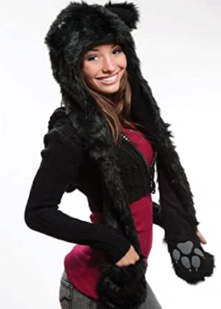 Black cat City Hunter Animal FULL Hoods Spirit hoods Hat