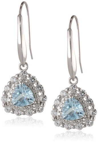Rhodium-Plated Silver Created White Sapphire and Gemstone Dangle Earrings