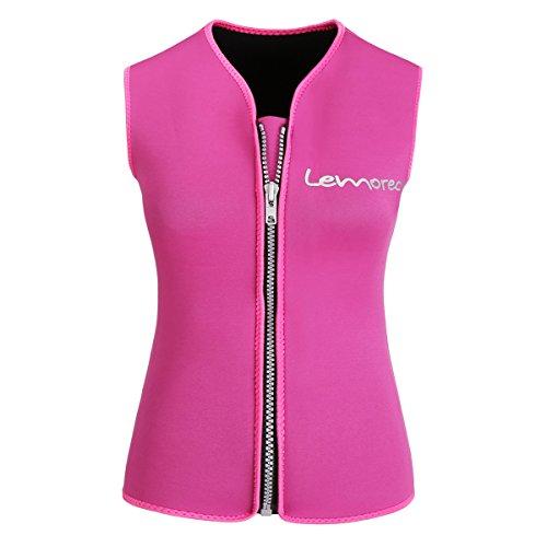 Lemorecn Women Wetsuits Top Premium Neoprene 3mm Zipper Diving Vest - Female Wetsuit