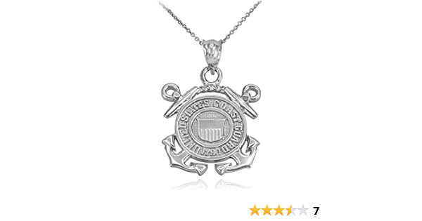 .925 Sterling Silver US Coast Guard Disc Charm Pendant MSRP $146