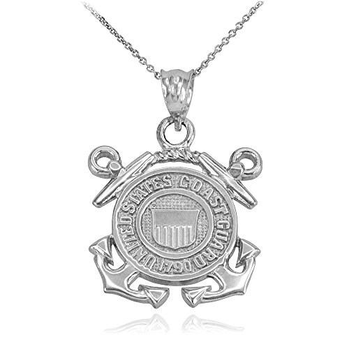 (US Coast Guard Pendant Necklace in 925 Sterling Silver, 18