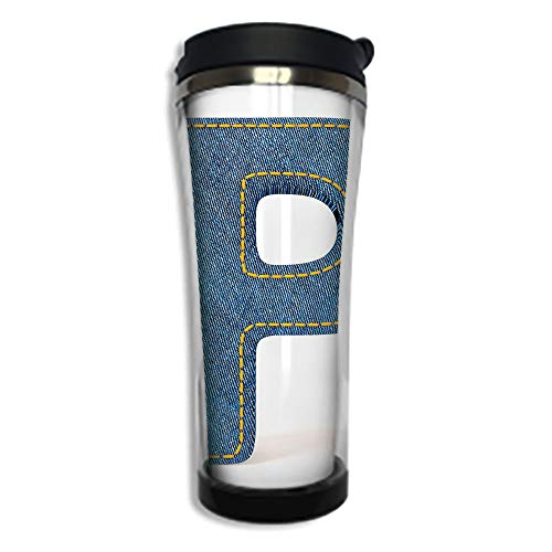 Travel Coffee Mug 3D Printed Portable Vacuum Cup,Insulated Tea Cup Water Bottle Tumblers for Drinking with Lid 8.45 OZ(250 ml)by,Letter P,Fabric Theme Font Design Alphabet Uppercase P with Blue Jean S