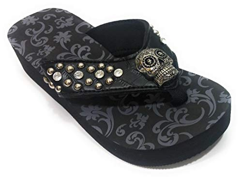 AGP Skull Concho Pirate Flip Flops Sandals Shoes Black (9)