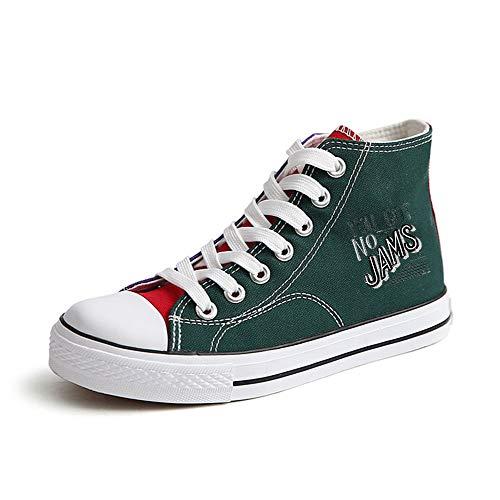 Popular Bts Zapatos Fashion Cordones Ayuda Ocasionales Alta Lona Con Pareja Transpirables Green57 De tBtqwfrUd