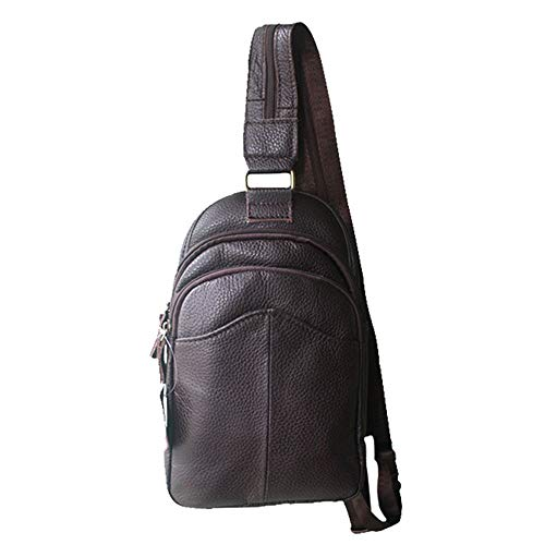 Chest Bag Casual Fitness Messenger Leather Sports Men's Coffee color Aihifly Running Shoulder Riding Coffee Etagqw