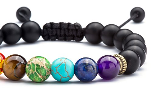 Hamoery Men Women 8mm Lava Rock Chakra Beads Bracelet Braided Rope Natural Stone Yoga Bracelet Bangle(Matte Black Agate)