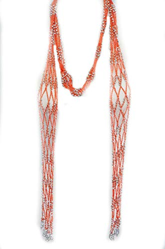 Fishnet Beaded Scarf , summer Belt , infinity scarf, necklace - Scarf Beads