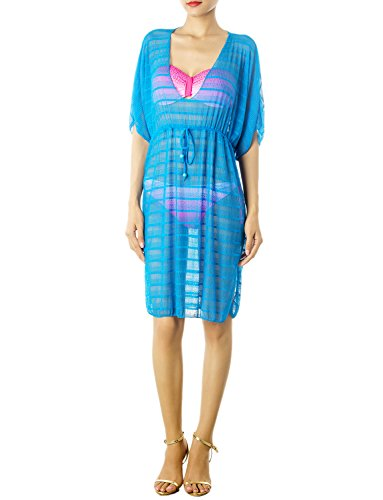 iB-iP Women'S Drawstring Sheer Plunge Bikini Swimsuit Mid-Thigh Tunic Cover-Up, Size: L, Sea Blue